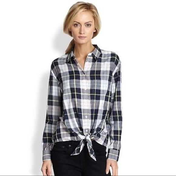 98086935d384c9 Equipment Tops - Equipment Femme Plaid Daddy Tie Front Shirt